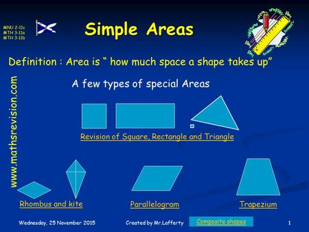 "MNU 2-11c MTH 3-11a MTH 3-11b Wednesday, 25 November 2015 1Created by Mr.Lafferty Simple Areas Definition : Area is "" how much space a shape takes up"""