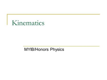 Kinematics MYIB/Honors Physics. Defining the important variables Kinematics is SymbolVariableUnits Time Acceleration Displacement Initial velocity Final.