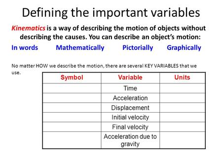 Defining the important variables Kinematics is a way of describing the motion of objects without describing the causes. You can describe an object's motion: