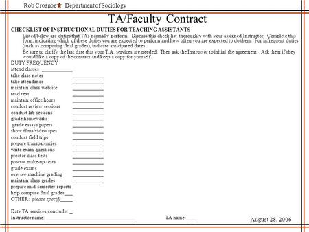 Department of SociologyRob Crosnoe August 28, 2006 TA/Faculty Contract CHECKLIST OF INSTRUCTIONAL DUTIES FOR TEACHING ASSISTANTS Listed below are duties.