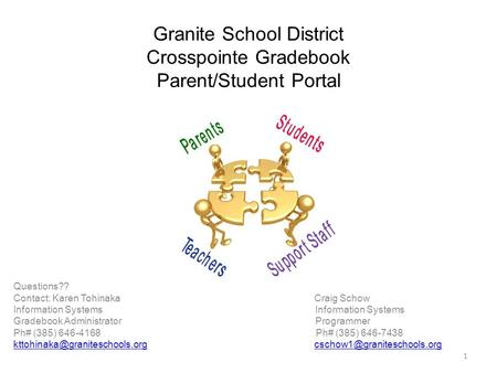 Granite School District Crosspointe Gradebook Parent/Student Portal Questions?? Contact: Karen Tohinaka Craig Schow Information Systems Information Systems.