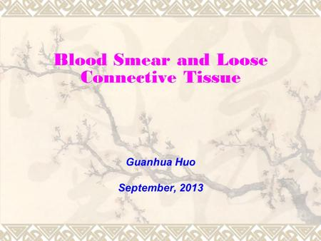 Blood Smear and Loose Connective Tissue Guanhua Huo September, 2013.