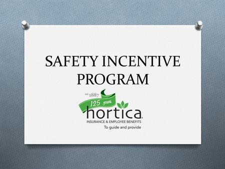 SAFETY INCENTIVE PROGRAM