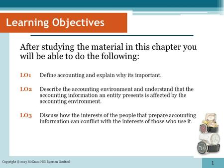 1 Learning Objectives After studying the material in this chapter you will be able to do the following: LO1 Define accounting and explain why its important.