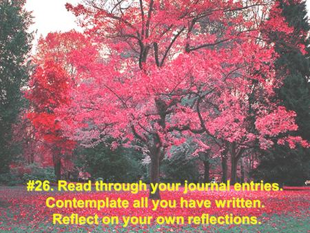 #26. Read through your journal entries. Contemplate all you have written. Reflect on your own reflections.