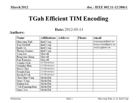 Doc.: IEEE 802.11-12/388r1 SubmissionMinyoung Park, et. al. Intel Corp.Slide 1 TGah Efficient TIM Encoding Date: 2012-03-14 Authors: March 2012.