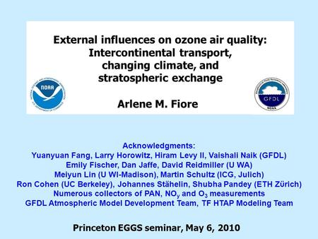 External influences on ozone air quality: Intercontinental transport, changing climate, and stratospheric exchange Princeton EGGS seminar, May 6, 2010.