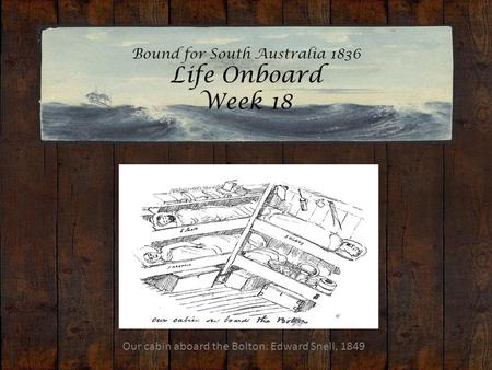 Bound for South Australia 1836 Life Onboard Week 18 Our cabin aboard the Bolton. Edward Snell, 1849.