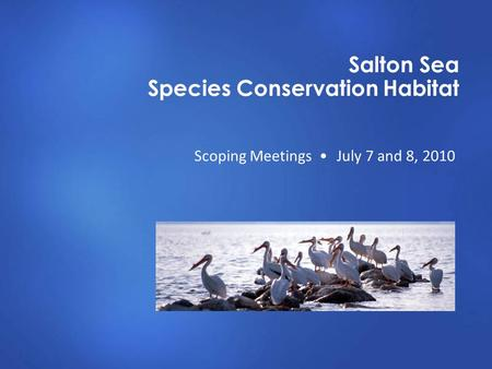 Salton Sea Species Conservation Habitat Scoping Meetings July 7 and 8, 2010.