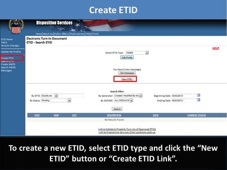 "Create ETID To create a new ETID, select ETID type and click the ""New ETID"" button or ""Create ETID Link""."