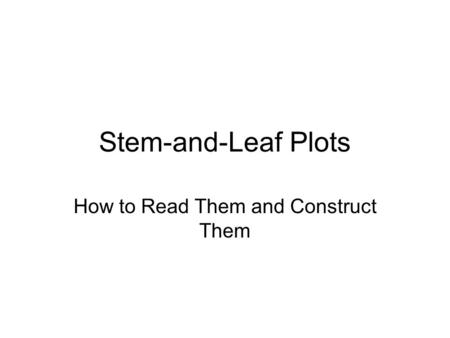 How to Read Them and Construct Them