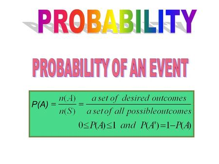 P(A). Ex 1 11 cards containing the letters of the word PROBABILITY is put in a box. A card is taken out at random. Find the probability that the card.