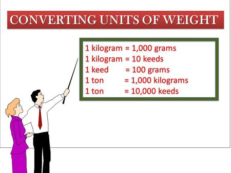 CONVERTING UNITS OF WEIGHT 1 kilogram = 1,000 grams 1 kilogram = 10 keeds 1 keed = 100 grams 1 ton = 1,000 kilograms 1 ton = 10,000 keeds 1 kilogram =