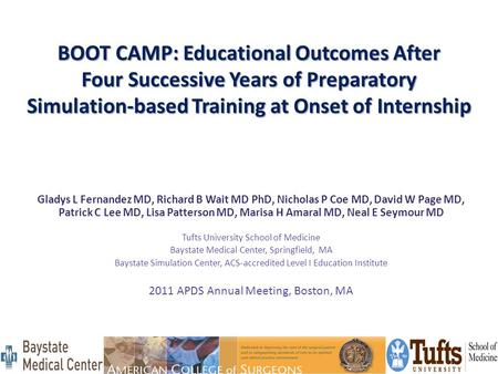 BOOT CAMP: Educational Outcomes After Four Successive Years of Preparatory Simulation-based Training at Onset of Internship Gladys L Fernandez MD, Richard.