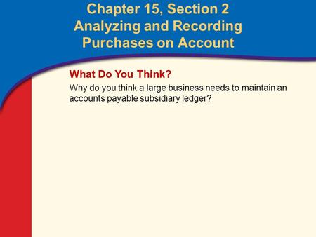 0 Glencoe Accounting Unit 4 Chapter 15 Copyright © by The McGraw-Hill Companies, Inc. All rights reserved. Chapter 15, Section 2 Analyzing and Recording.