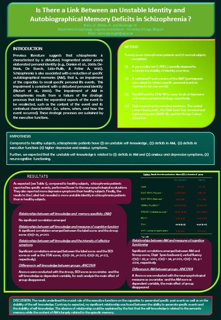 INTRODUCTION Previous literature suggests that schizophrenia is characterized by a disturbed, fragmented and/or poorly elaborated personal identity (e.g.,