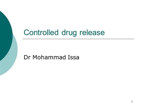 1 Controlled drug release Dr Mohammad Issa. 2 Frequency of dosing and therapeutic index  Therapeutic index (TI) is described as the ratio of the maximum.