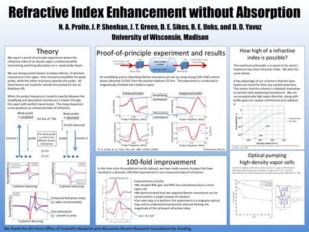 Refractive Index Enhancement without Absorption N. A. Proite, J. P. Sheehan, J. T. Green, D. E. Sikes, B. E. Unks, and D. D. Yavuz University of Wisconsin,