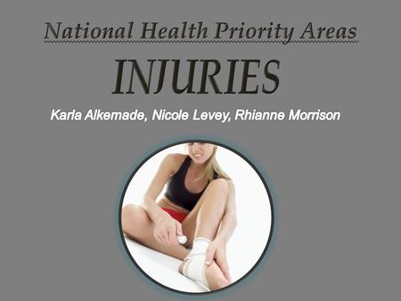  Injuries is one area of the National Health Priority Areas. Injuries include: -Intentional Harm (Suicide) and - Non-Intentional Harm (Falls, poisoning,