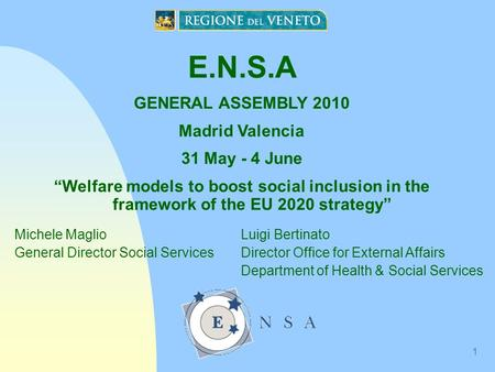 "1 E.N.S.A GENERAL ASSEMBLY 2010 Madrid Valencia 31 May - 4 June ""Welfare models to boost social inclusion in the framework of the EU 2020 strategy"" Michele."