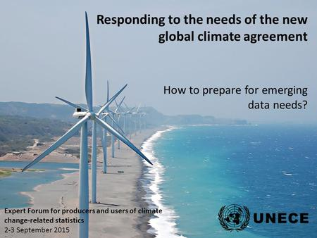 Expert Forum for producers and users of climate change-related statistics 2-3 September 2015 Responding to the needs of the new global climate agreement.