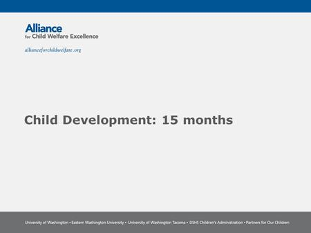 Child Development: 15 months. The Power of Partnership The Alliance for Child Welfare Excellence is Washington's first comprehensive statewide training.
