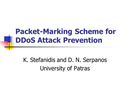 Packet-Marking Scheme for DDoS Attack Prevention
