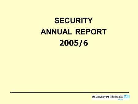 SECURITY ANNUAL REPORT 2005/6. Background National strategic approach –to deliver an environment that is safe and secure so that the highest standards.