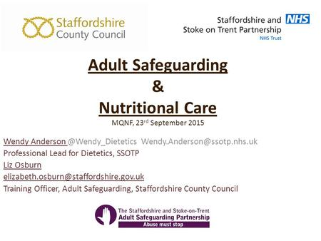 Adult Safeguarding & Nutritional Care MQNF, 23rd September 2015