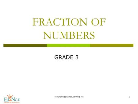 FRACTION OF NUMBERS GRADE 3.