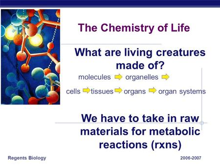 Regents Biology 2006-2007 The Chemistry of Life What are living creatures made of? We have to take in raw materials for metabolic reactions (rxns) cells.