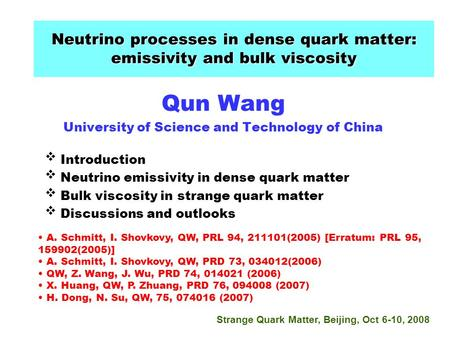Qun Wang University of Science and Technology of China