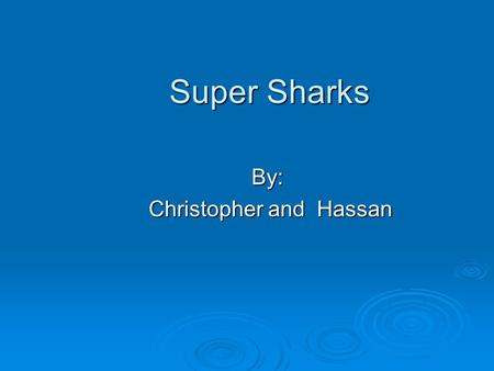 Super Sharks By: Christopher and Hassan Christopher and Hassan.