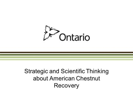 Strategic and Scientific Thinking about American Chestnut Recovery.