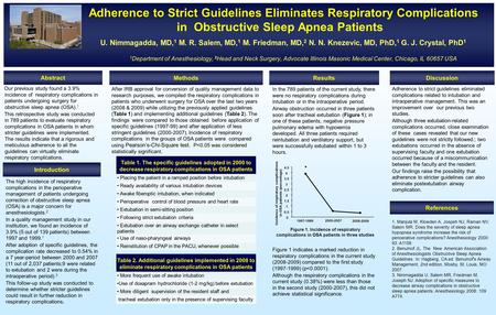 Adherence Adherence to Strict Guidelines Eliminates Respiratory Complications in Obstructive Sleep Apnea Patients U. Nimmagadda, MD, 1 M. R. Salem, MD,