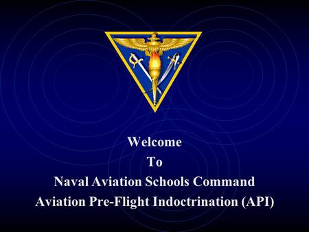 Welcome To Naval Aviation Schools Command Aviation Pre-Flight Indoctrination (API)