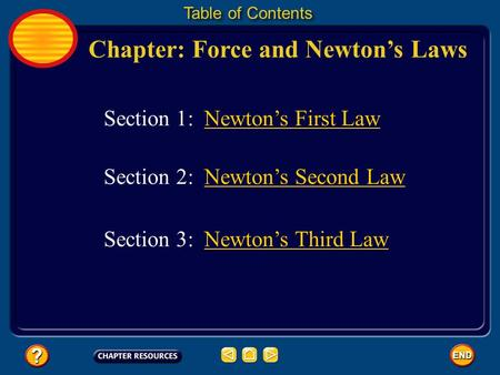 Chapter: Force and Newton's Laws Table of Contents Section 3: Newton's Third LawNewton's Third Law Section 1: Newton's First Law Section 2: Newton's Second.