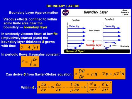 BOUNDARY LAYERS Viscous effects confined to within some finite area near the boundary → boundary layer In unsteady viscous flows at low Re (impulsively.