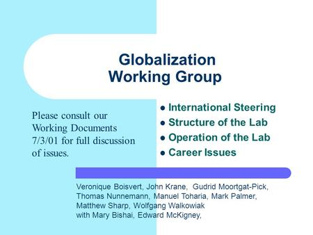 Globalization Working Group International Steering Structure of the Lab Operation of the Lab Career Issues Veronique Boisvert, John Krane, Gudrid Moortgat-Pick,
