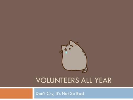 VOLUNTEERS ALL YEAR Don't Cry, It's Not So Bad. VOLUNTEERS ALL YEAR Much better.