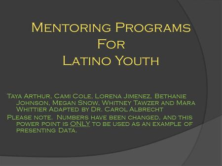 Mentoring Programs For Latino Youth Taya Arthur, Cami Cole, Lorena Jimenez, Bethanie Johnson, Megan Snow, Whitney Tawzer and Mara Whittier Adapted by Dr.