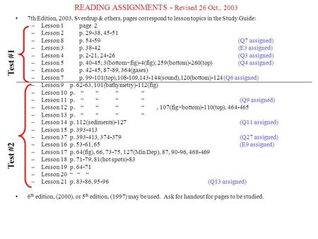READING ASSIGNMENTS - Revised 26 Oct., 2003
