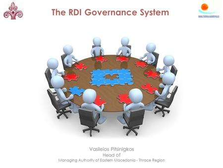 The RDI Governance System Vasileios Pitsinigkos Head of Managing Authority of Eastern Macedonia - Thrace Region.