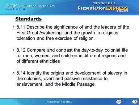 Chapter 4 Section 4 The Spread of New Ideas 8.11 Describe the significance of and the leaders of the First Great Awakening, and the growth in religious.