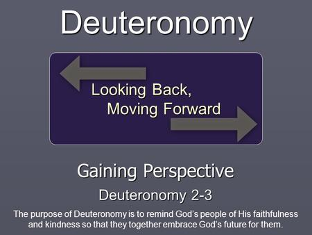 Looking Back, Moving Forward Deuteronomy Gaining Perspective Deuteronomy 2-3 The purpose of Deuteronomy is to remind God's people of His faithfulness and.