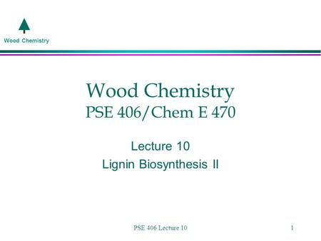 Wood Chemistry PSE 406 Lecture 101 Wood Chemistry PSE 406/Chem E 470 Lecture 10 Lignin Biosynthesis II.