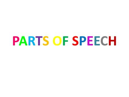 PARTS OF SPEECHPARTS OF SPEECH. NOUNS Definition: A noun names a person, place, or thing. Example: John, computer, honesty, school A singular noun is.