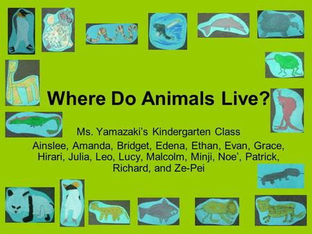 Where Do Animals Live? Ms. Yamazaki's Kindergarten Class Ainslee, Amanda, Bridget, Edena, Ethan, Evan, Grace, Hirari, Julia, Leo, Lucy, Malcolm, Minji,