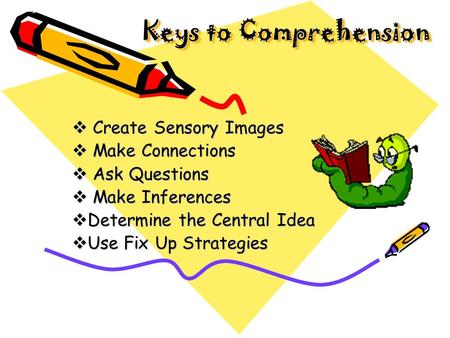 Keys to Comprehension Keys to Comprehension  Create Sensory Images  Make Connections  Ask Questions  Make Inferences  Determine the Central Idea.