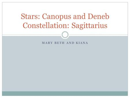 MARY BETH AND KIANA Stars: Canopus and Deneb Constellation: Sagittarius.